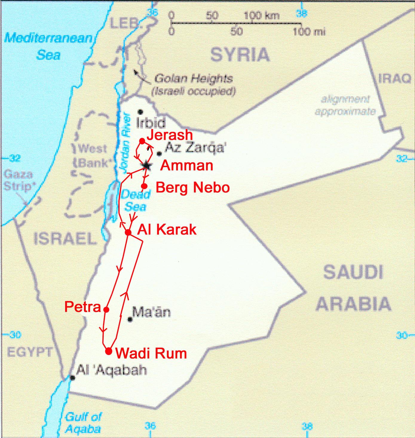 israel jordanien karte